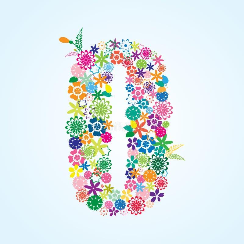 在白色背景隔绝的传染媒介五颜六色的花卉0个数字设计 花卉数字零的字体 向量例证