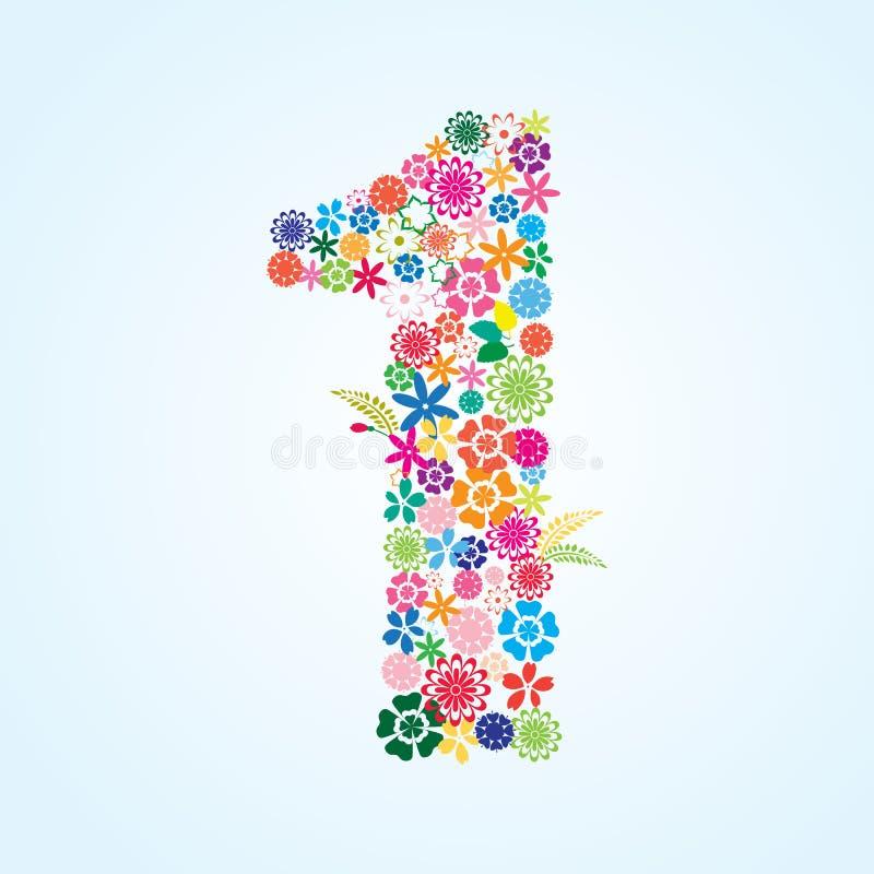在白色背景隔绝的传染媒介五颜六色的花卉1个数字设计 花卉第一字体 皇族释放例证