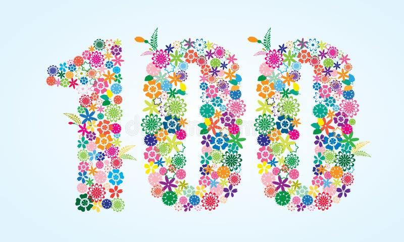 在白色背景隔绝的传染媒介五颜六色的花卉100个数字设计 花卉第一百字体 向量例证