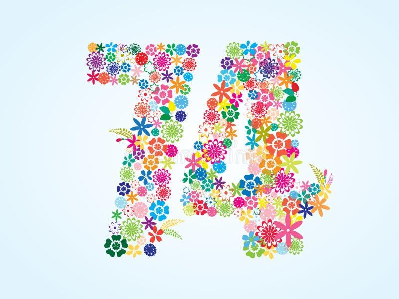 在白色背景隔绝的传染媒介五颜六色的花卉74个数字设计 花卉第七十四字体 向量例证