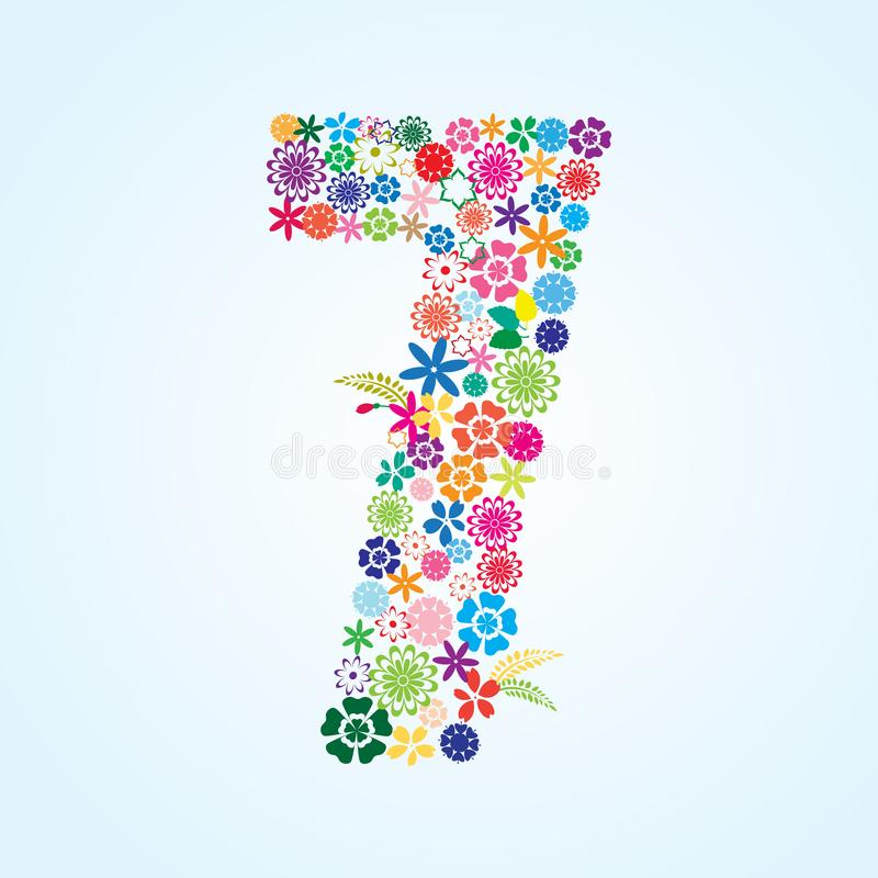 在白色背景隔绝的传染媒介五颜六色的花卉7个数字设计 花卉第七字体 库存例证