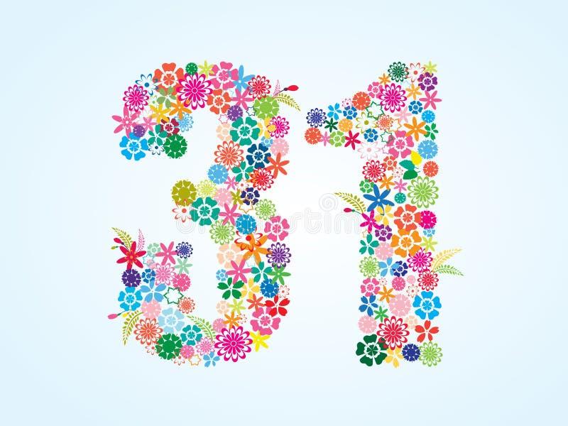 在白色背景隔绝的传染媒介五颜六色的花卉31个数字设计 花卉第三十一个字体 库存例证