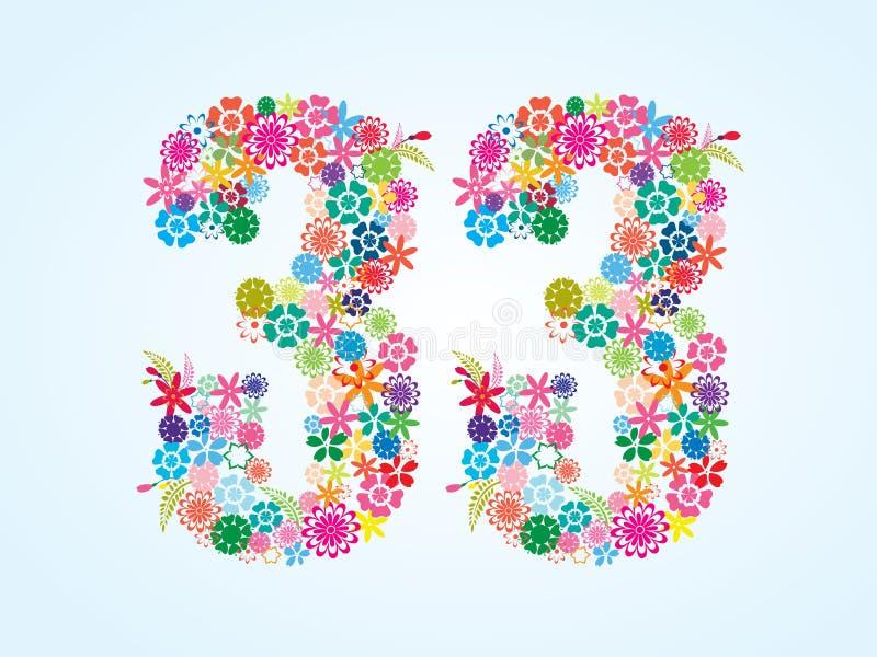 在白色背景隔绝的传染媒介五颜六色的花卉33个数字设计 花卉第三十三字体 库存例证