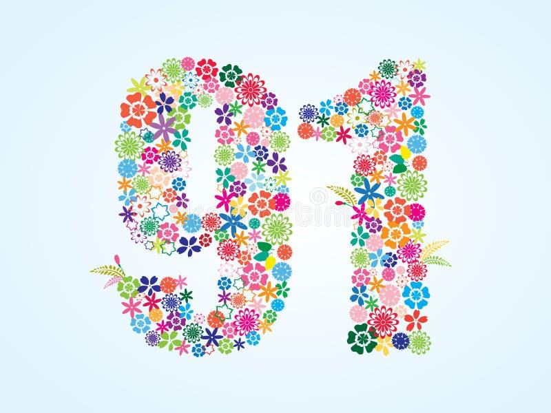 在白色背景隔绝的传染媒介五颜六色的花卉91个数字设计 花卉第九十一个字体 库存例证