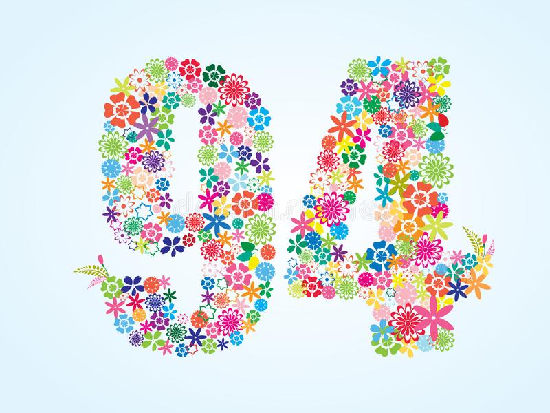 在白色背景隔绝的传染媒介五颜六色的花卉94个数字设计 花卉第九十四字体 向量例证