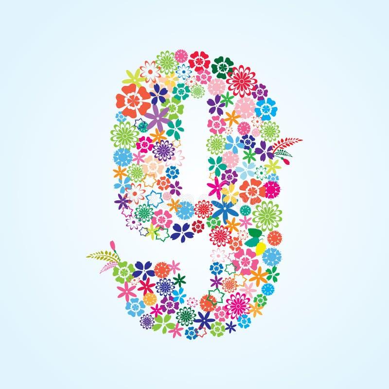 在白色背景隔绝的传染媒介五颜六色的花卉9个数字设计 花卉第九字体 向量例证