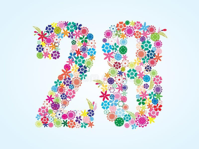 在白色背景隔绝的传染媒介五颜六色的花卉28个数字设计 花卉第二十八字体 向量例证