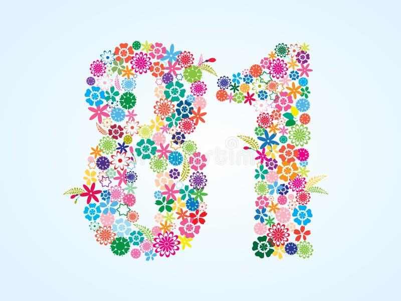 在白色背景隔绝的传染媒介五颜六色的花卉81个数字设计 花卉第八十一个字体 皇族释放例证