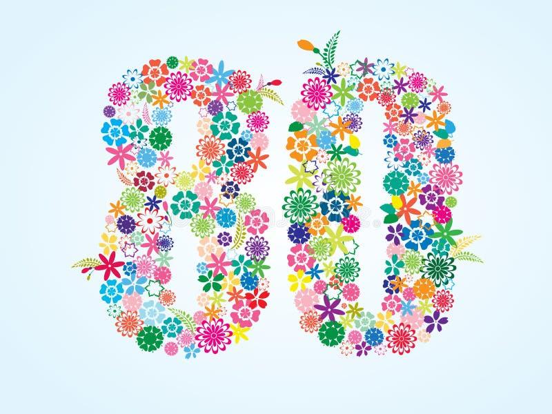 在白色背景隔绝的传染媒介五颜六色的花卉80个数字设计 花卉第八十字体 皇族释放例证