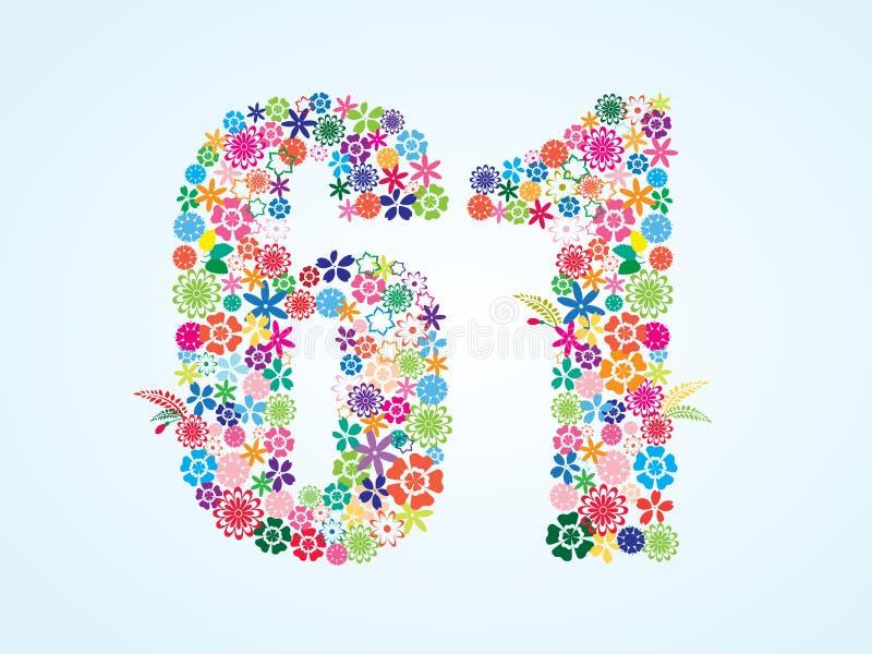 在白色背景隔绝的传染媒介五颜六色的花卉61个数字设计 花卉第六十一个字体 向量例证