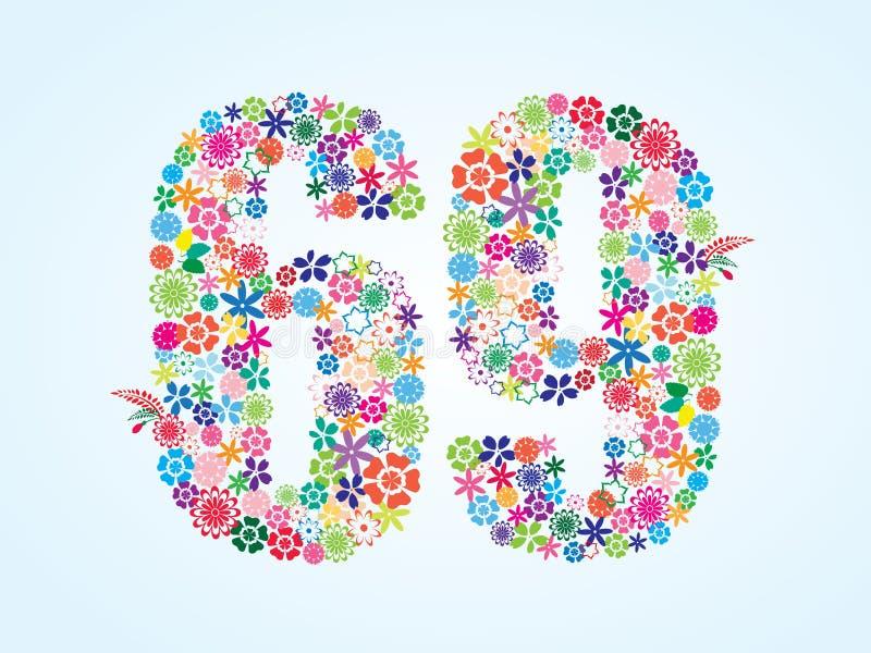 在白色背景隔绝的传染媒介五颜六色的花卉69个数字设计 花卉第六十九字体 皇族释放例证