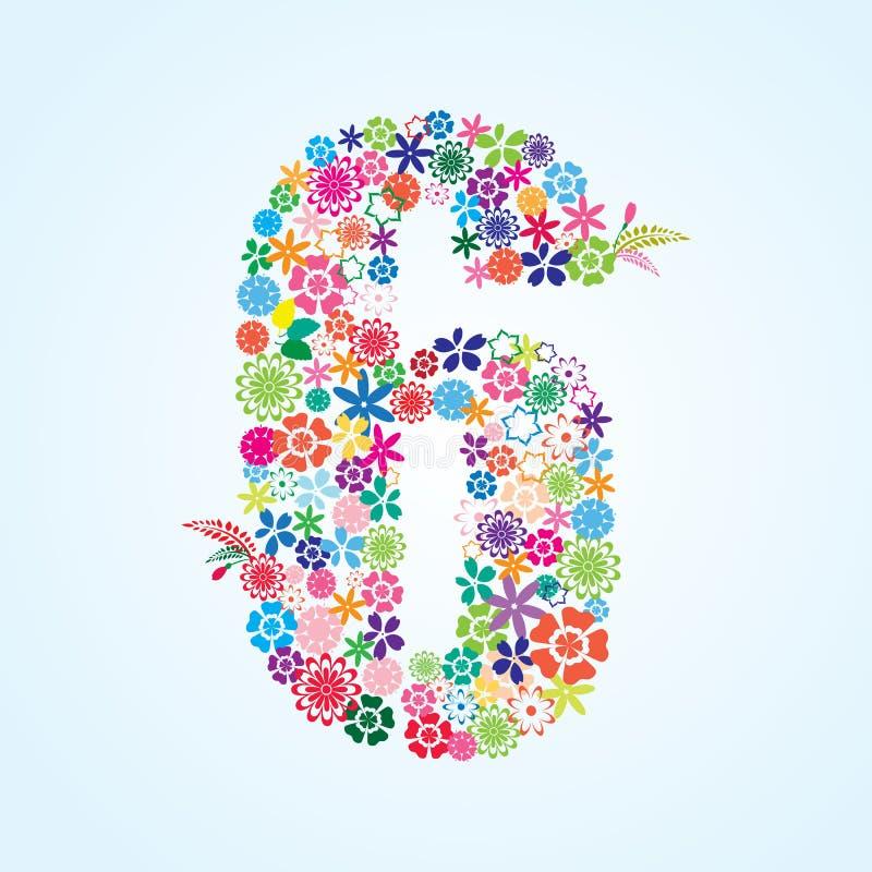 在白色背景隔绝的传染媒介五颜六色的花卉6个数字设计 花卉第六字体 库存例证