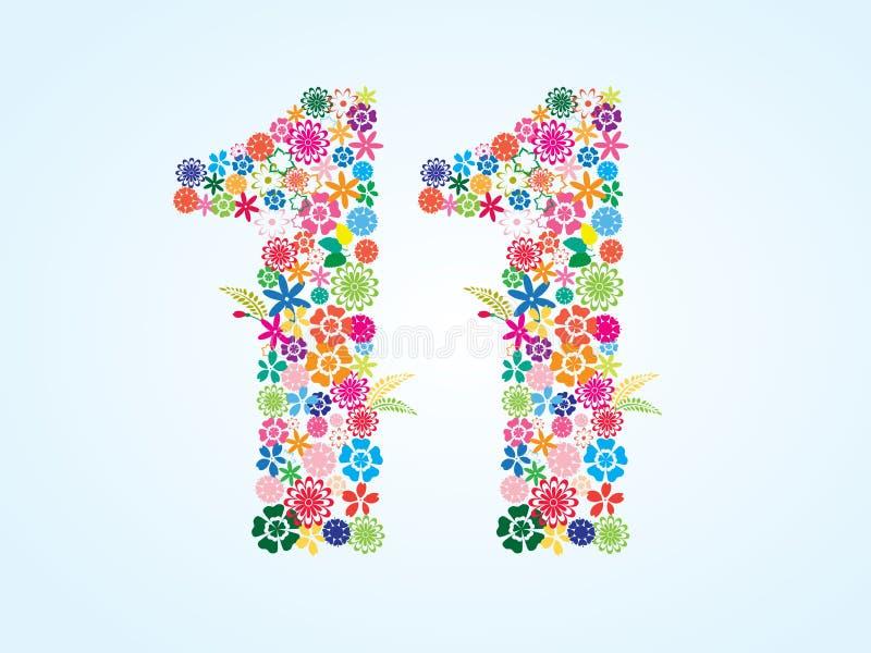 在白色背景隔绝的传染媒介五颜六色的花卉11个数字设计 花卉第十一字体 皇族释放例证