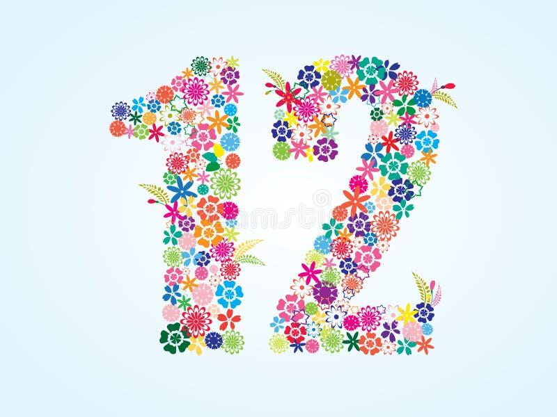 在白色背景隔绝的传染媒介五颜六色的花卉12个数字设计 花卉第十二字体 向量例证