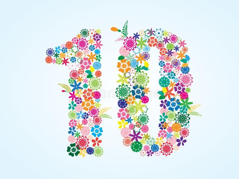 在白色背景隔绝的传染媒介五颜六色的花卉10个数字设计 花卉第十字体 向量例证