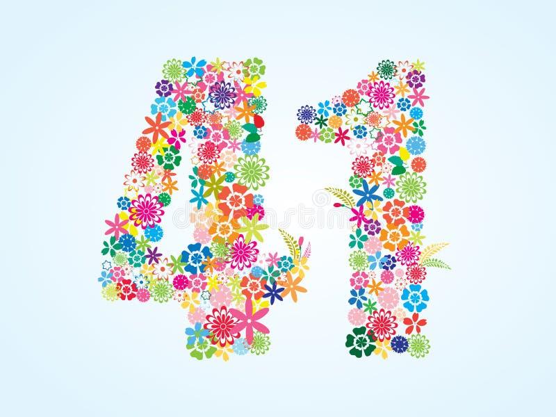 在白色背景隔绝的传染媒介五颜六色的花卉41个数字设计 花卉第四十一个字体 皇族释放例证