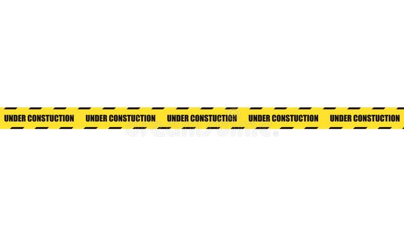 在白色背景隔绝的传染媒介危险丝带,建设中发怒线 向量例证
