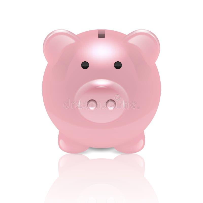 在白色背景隔绝的传染媒介现实3d桃红色减速火箭的存钱罐特写镜头 金钱猪设计模板为 库存例证