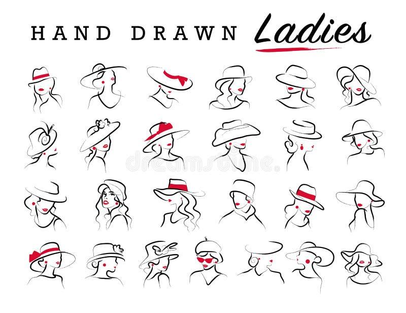 在白色背景隔绝的传染媒介艺术性的手拉的时髦的小姐画象集合 向量例证