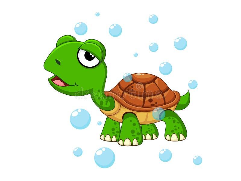 在白色背景隔绝的传染媒介逗人喜爱的动画片乌龟 海洋动物传染媒介例证 库存例证