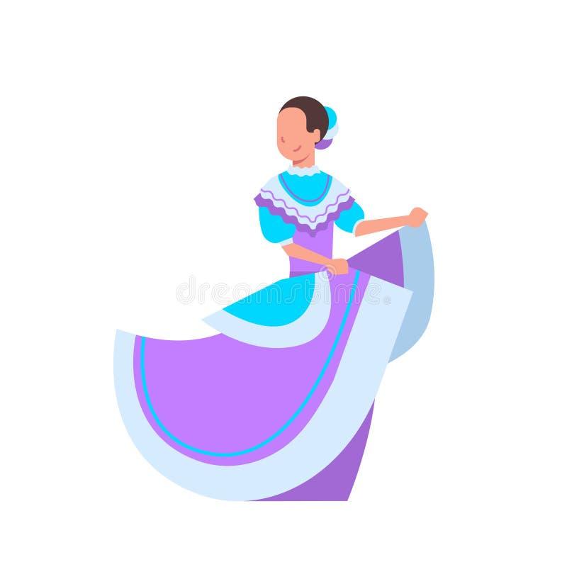 在白色背景隔绝的传统全国服装的美丽的墨西哥妇女舞蹈家 皇族释放例证