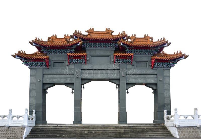 在白色背景隔绝的传统灰色大理石中国亭子门曲拱 免版税图库摄影