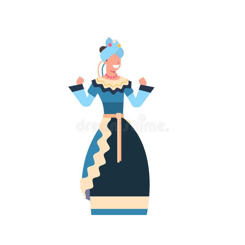 在白色背景隔绝的传统衣裳女孩舞蹈家的美丽的墨西哥女性 皇族释放例证