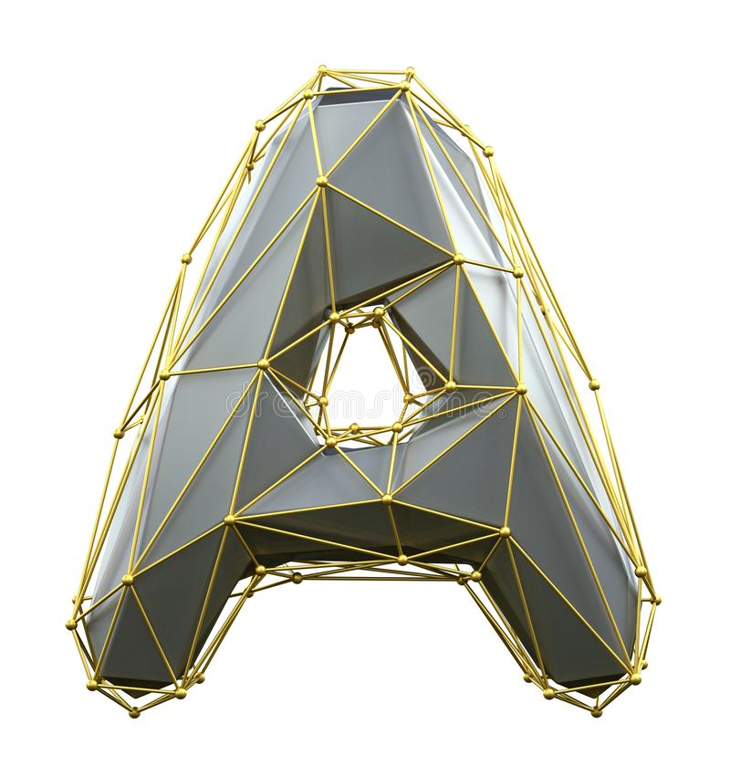 在白色背景隔绝的低多样式银和金子颜色的资本拉丁字母A 3d 向量例证