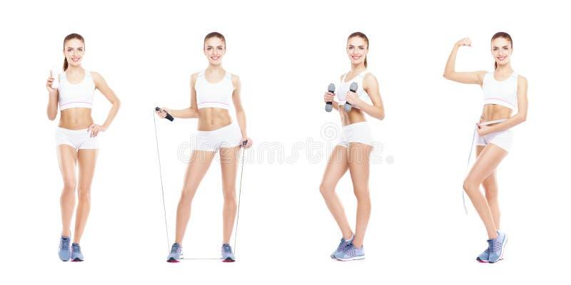 在白色背景隔绝的健康,运动和美丽的女孩 健身锻炼汇集的妇女 营养,饮食 免版税库存图片