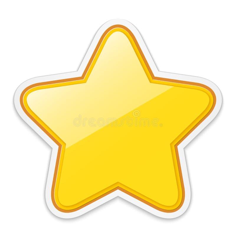 在白色背景隔绝的光滑的金黄星贴纸象 库存例证