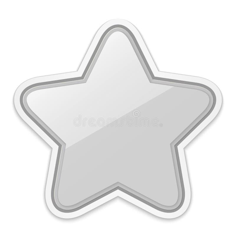 在白色背景隔绝的光滑的银色星贴纸象 向量例证