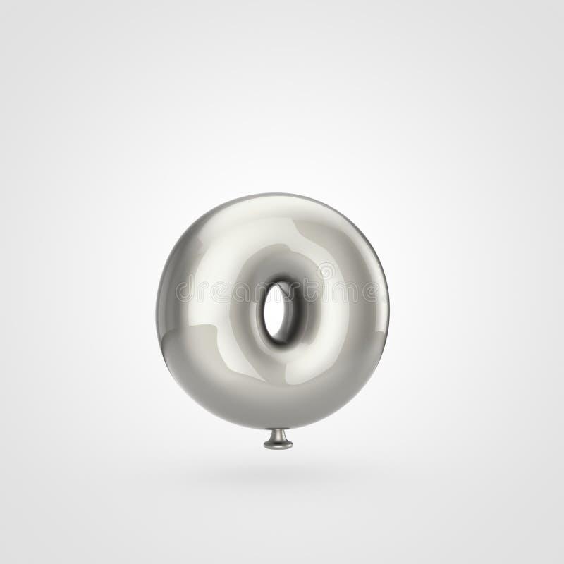 在白色背景隔绝的光滑的银色气球信件O小写 库存照片
