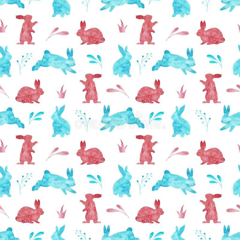 在白色背景隔绝的兔子的无缝的样式 水彩复活节例证 皇族释放例证