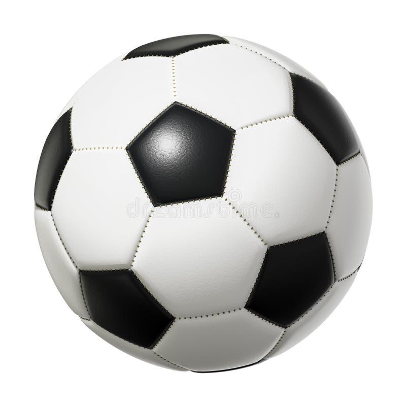 在白色背景隔绝的典型的黑白足球 向量例证