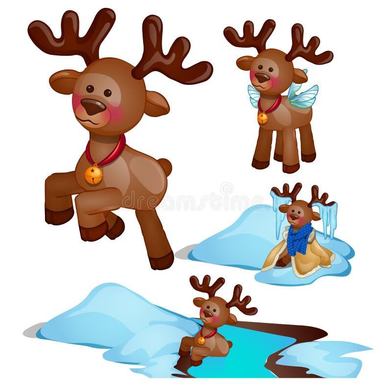在白色背景隔绝的冒险集合圣诞节鹿 传染媒介动画片特写镜头例证 库存例证
