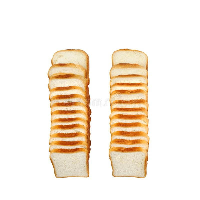 在白色背景隔绝的切的多士面包 免版税库存图片