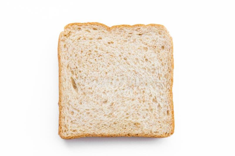 在白色背景隔绝的切的面包 免版税库存照片