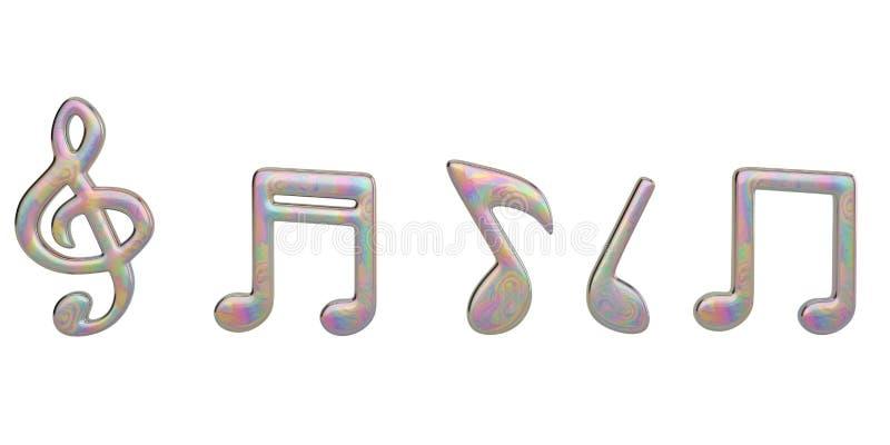 在白色背景隔绝的创造性的音乐笔记 3d例证 向量例证