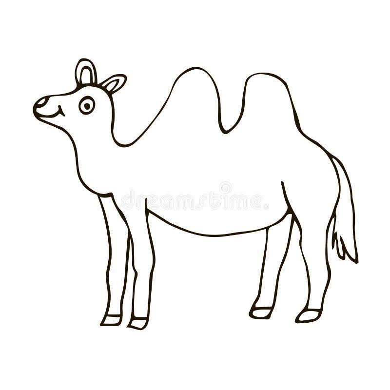 在白色背景隔绝的动画片乱画愉快的骆驼 纯稚样式 皇族释放例证