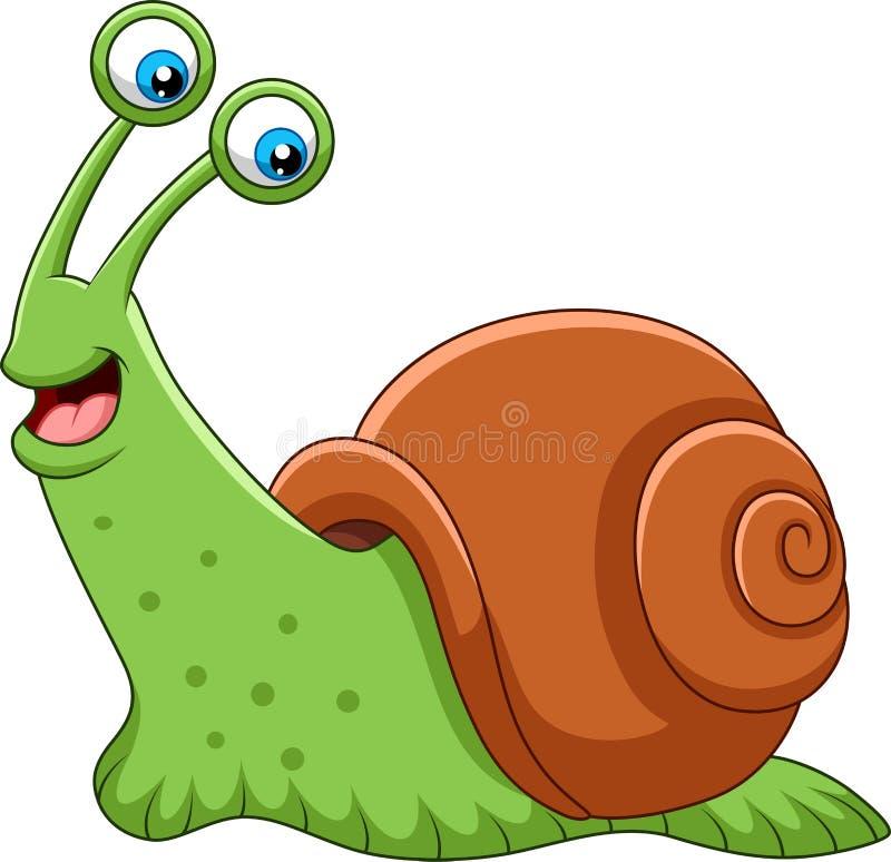 在白色背景隔绝的动画片愉快的蜗牛 向量例证