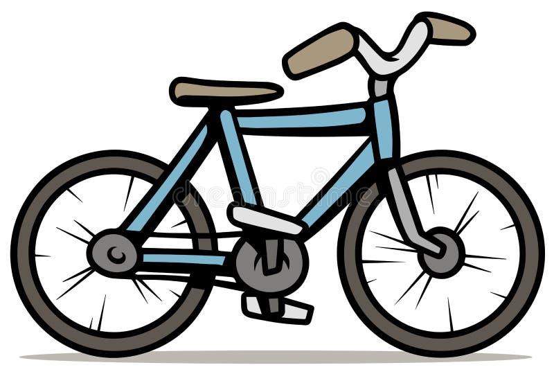 在白色背景隔绝的动画片蓝色自行车 库存例证
