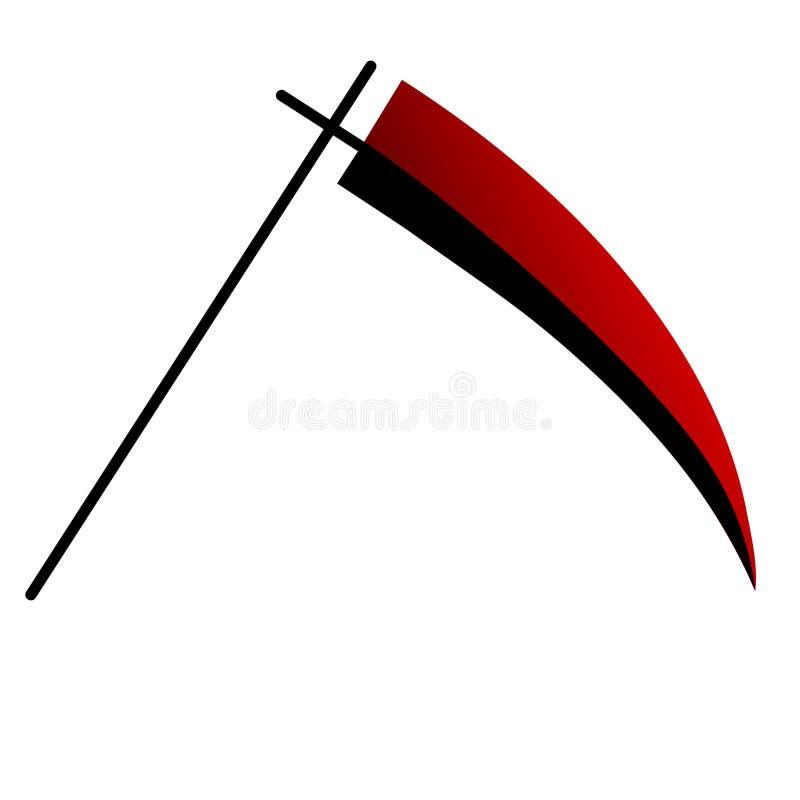 在白色背景隔绝的动画片锋利的死亡大镰刀 红色大镰刀 万圣夜元素 也corel凹道例证向量 库存例证