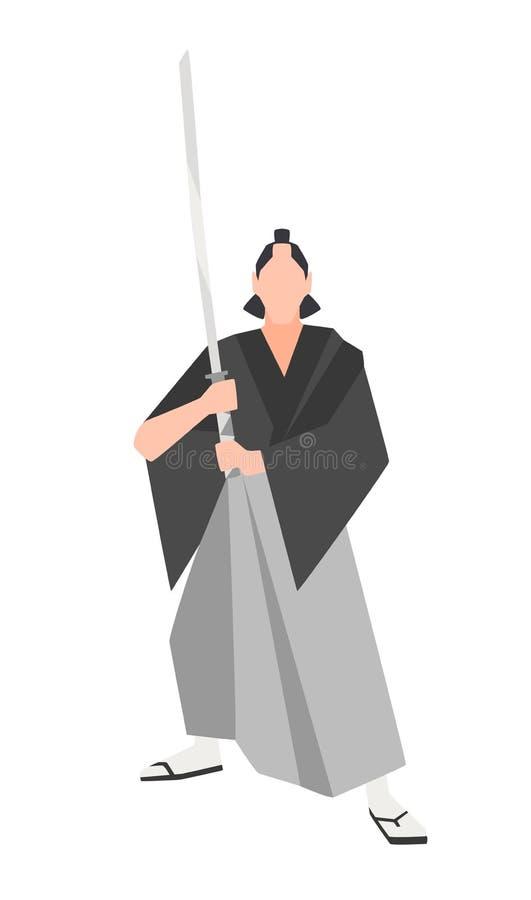 在白色背景隔绝的勇敢的武士战士 勇敢的日本历史字符佩带的和服和举行 向量例证
