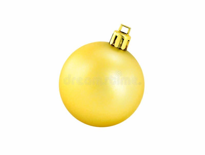 在白色背景隔绝的发光的金子圣诞节球 免版税图库摄影
