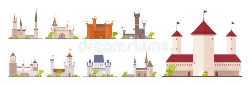在白色背景隔绝的古老城堡、堡垒、城堡和堡垒的汇集 套大厦  库存例证