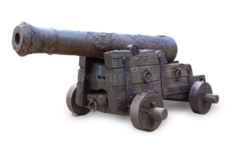 在白色背景隔绝的古老大炮 库存图片