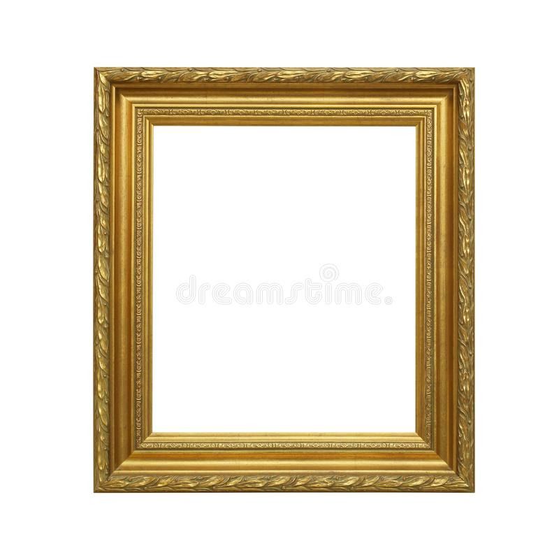 在白色背景隔绝的古色古香的金黄框架 库存图片