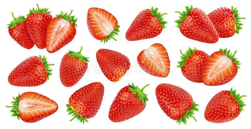 在白色背景隔绝的可口整个和切好的新成熟草莓集合 免版税库存照片