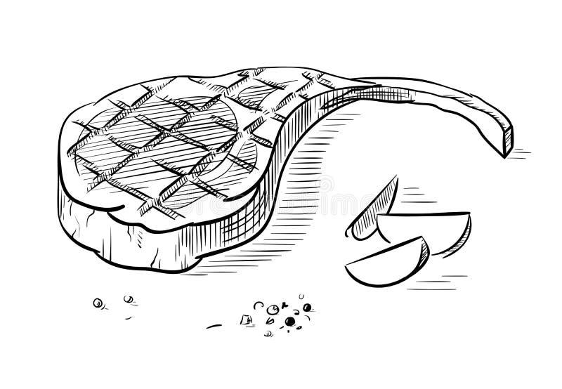 在白色背景隔绝的可口油煎的肉牛排. 贝多芬, 母牛.图片