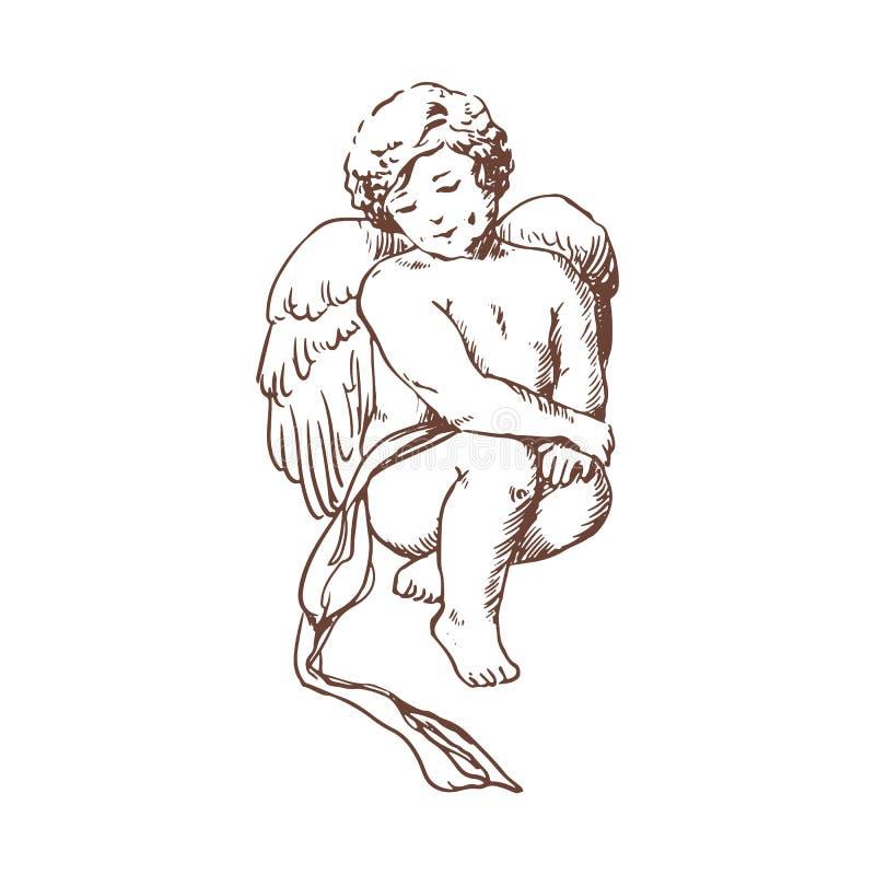 在白色背景隔绝的可爱的坐的丘比特典雅的图画  浪漫爱一点天使、神或者神  皇族释放例证